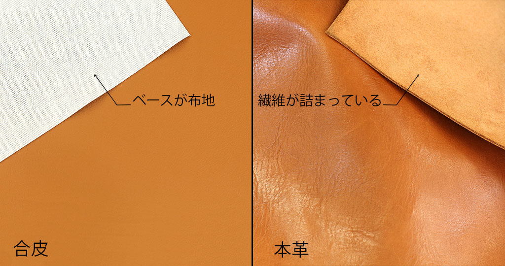 合皮⇆本革の表面を比較する図