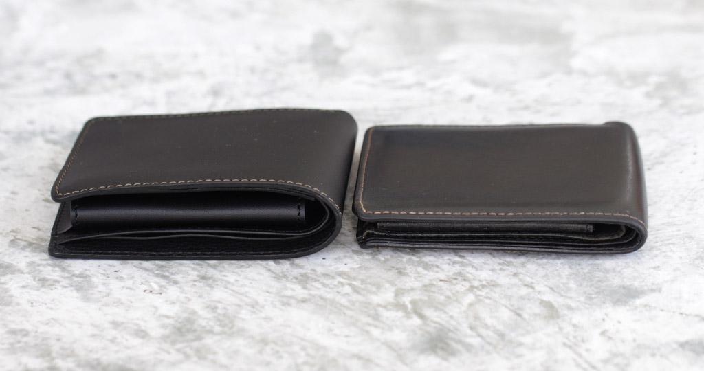 革財布が薄くなっている比較画像