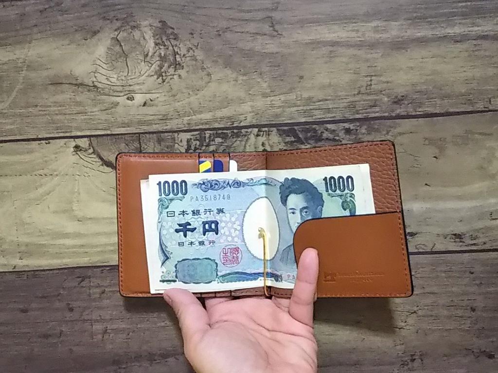 マネークリップ 札 ばさみ 小銭入れ付き 薄い オイルレザー