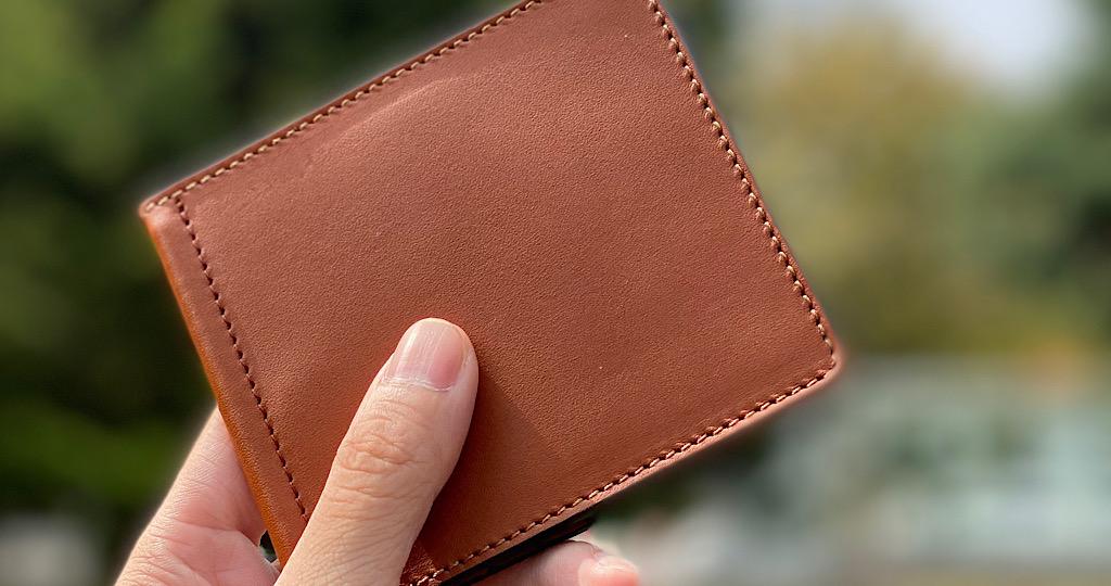マネークリップ 札ばさみ コンパクト 薄い 二つ折り 財布 革